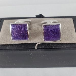 NEW Jos. A. Bank silver tone Purple sqr cuff link